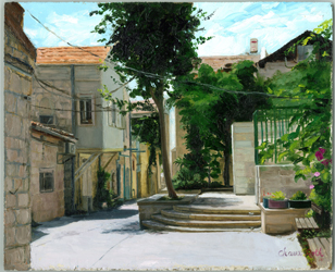 Jerusalem Alleyway: JUDAICA PAINTING, ISRAELI ART, JERUSALEM