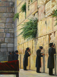 Men at Wall: Judaica painting, ISRAELI SCENE,judaica art, Israeli art, Jewish art, paintings of Israel, Jewish fine art, bar mitzvah, bat mitzvah, jewish gift, jewish gifts, judaica gifts, jewish fine arts