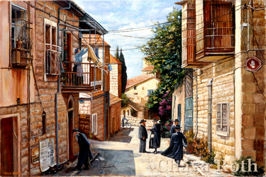 Morning in Mea Shearim: Judaica painting, ISRAELI SCENE, JERUSALEM, judaica art, Israeli art, Jewish art, paintings of Israel, Jewish fine art, bar mitzvah, bat mitzvah, jewish gift, jewish gifts, judaica gifts, jewish fine arts